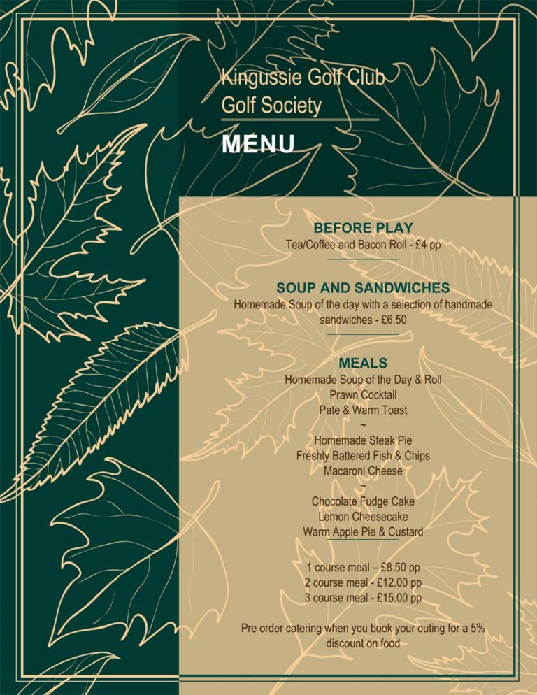 Kingussie Golf Club -Society Menu